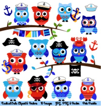 Nautical Owl Clipart Clip Art, Sailor and Pirate Owls Clip Art Clipart Vectors