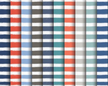 Nautical Paint Stripe Paper Set #022