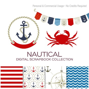 Nautical Paper and Clipart Collection - C00005