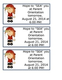 Nautical Parent Orientation Reminder Note