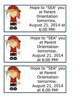Nautical Parent Orientation Reminder Note