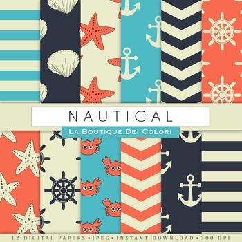 Nautical Party Digital Paper, scrapbook backgrounds