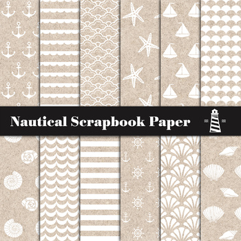 Nautical Patterns, Anchors, Sea Waves, Sea Stars, Sea Shells, Boats