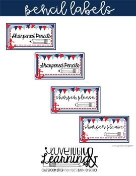 Nautical Pencil Labels