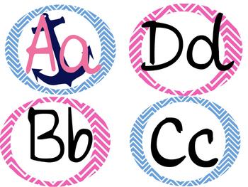 Nautical Pink & Blue Alphabet