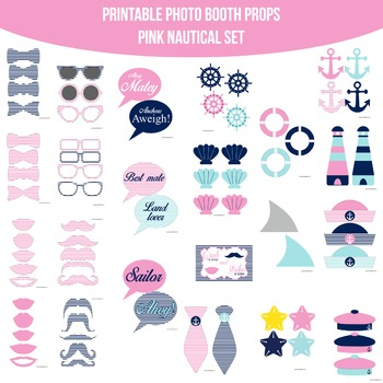 Nautical Pink Printable Photo Booth Prop Set