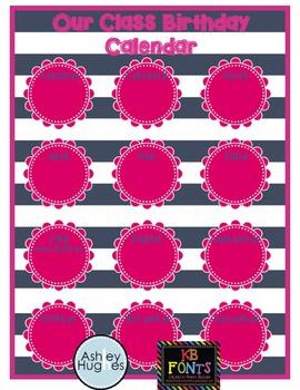 Nautical Pink and Navy Class Birthday Calendar