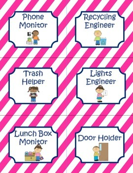 Nautical Pink and Navy Job chart