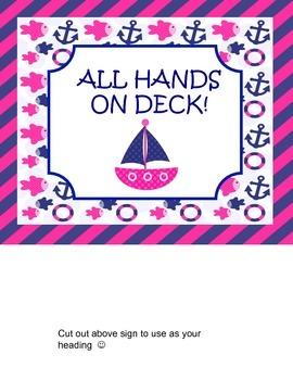 Nautical Pink and Navy Job chart