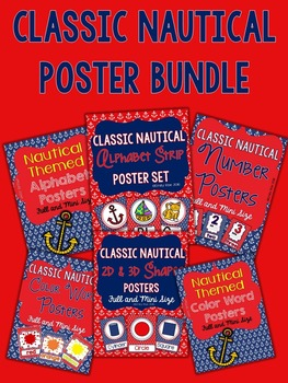 Nautical Posters - Classic Navy and Red BUNDLE