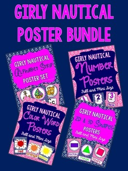 Nautical Posters - Girly Pink and Navy BUNDLE