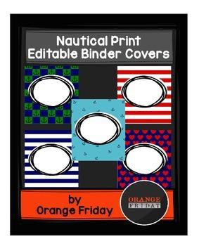 Nautical Print Editable Binder Covers