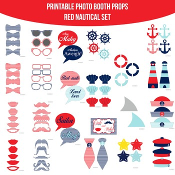 Nautical Red Printable Photo Booth Prop Set