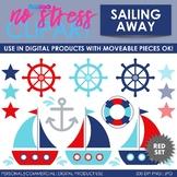Sailing Away (Red Set) Clip Art (Digital Use Ok!)