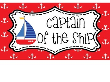 Nautical Red and Blue Behavior Clip Chart