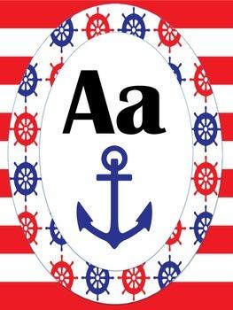 Nautical Red and Blue Classroom Alphabet