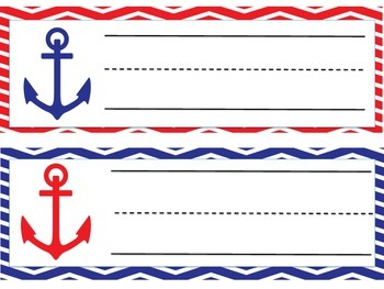 Nautical Red and Blue Name plates or Desk plates
