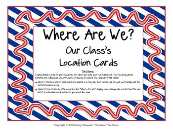 """Class Location Cards """"Where Are We?"""" - Nautical Ribbons & Stripes Theme"""