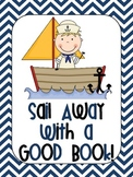Nautical Chevron Sail Away With a Good Book Poster