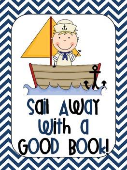 Nautical Chevron Sail Away With a Good Book Poster