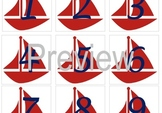 Nautical Sailboat Calendar Numbers