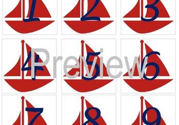 Nautical Sailboat Calendar Numbers