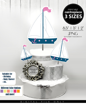 Nautical Sailboat Centerpiece, Cake Topper, Clip Art Decoration for Girl Shower