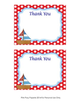 Nautical Sailing Flat Thank You Note Cards
