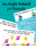 Nautical Sea Creature PreWriting Worksheets
