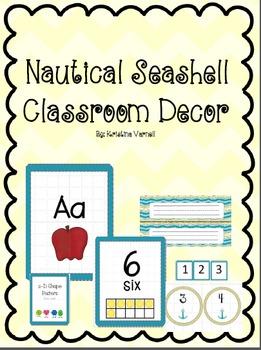 Nautical Seashell Classroom Decor Bundle