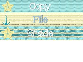 Nautical Seashell Copy/File/Grade Drawers