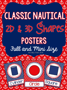 Nautical Shape Posters 2d and 3d Shapes - Classic Navy and Red