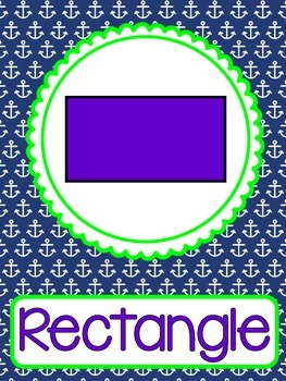Nautical Shape Posters 2d and 3d Shapes - Preppy Navy and Green