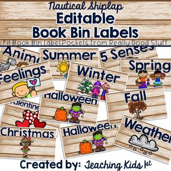 Nautical Shiplap Editable Book Bin Labels