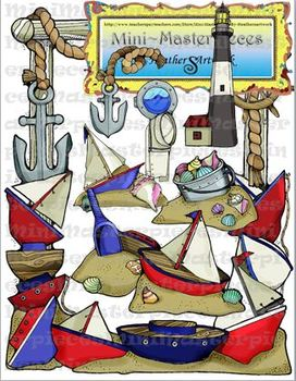 Clip Art: Anchor Nautical Sand and Ships-A-Sailing by Heat