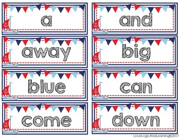 Nautical Sight Word Cards