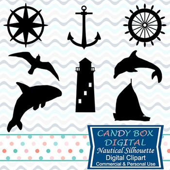 Nautical Silhouette Clip Art, Includes SVG File For Cutting Machines