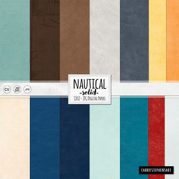 Nautical Solid Digital Papers -  Lightly Textured Digital Card Stock - Primary