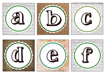 Square Letters For Word Walls or Labeling (Shiplap and Burlap)