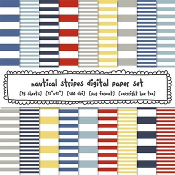 Nautical Stripes Digital Paper, Red, Navy Blue, Yellow Str