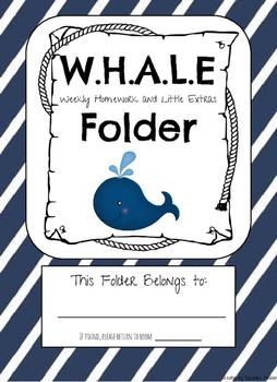 Nautical Student Folder Cover and Labels Homework Folder