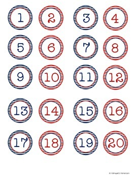 Nautical Student Numbers Tags