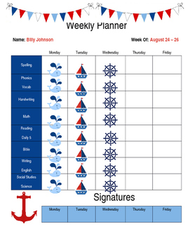 Nautical Student Weekly Planner (EDITABLE)