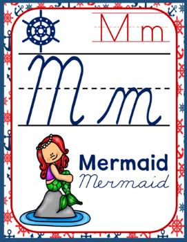 Nautical Style Cursive Alphabet Decor Pack