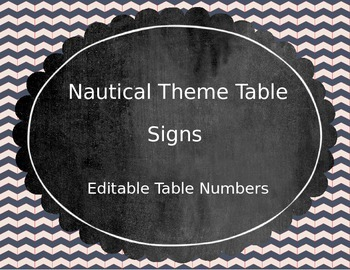 Nautical Table Numbers (Editable)