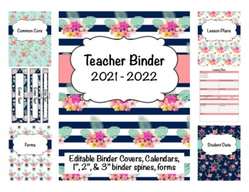 Nautical Teacher Binder 2017-2018 (Covers, Spines, Forms & Calendars) Editable