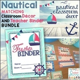 Nautical Teacher Binder & Decor (Editable) Teacher Planner 2019-2020