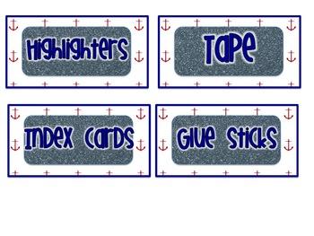 Nautical Teacher Toolbox Labels