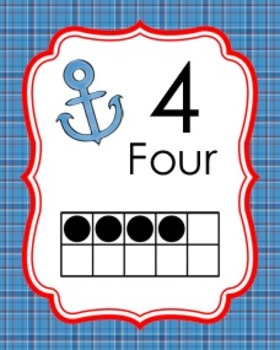 Nautical Ten Frame Posters 0 - 20