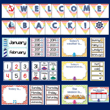Nautical Theme Classroom Decor EDITABLE (Nautical Classroom Theme Decor)